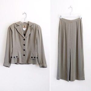 Vtg Henri Bendel Micro Houndstooth Skirt Suit 6 2